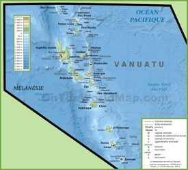 Physical map of Vanuatu islands