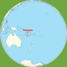 Vanuatu location on the Pacific Ocean map