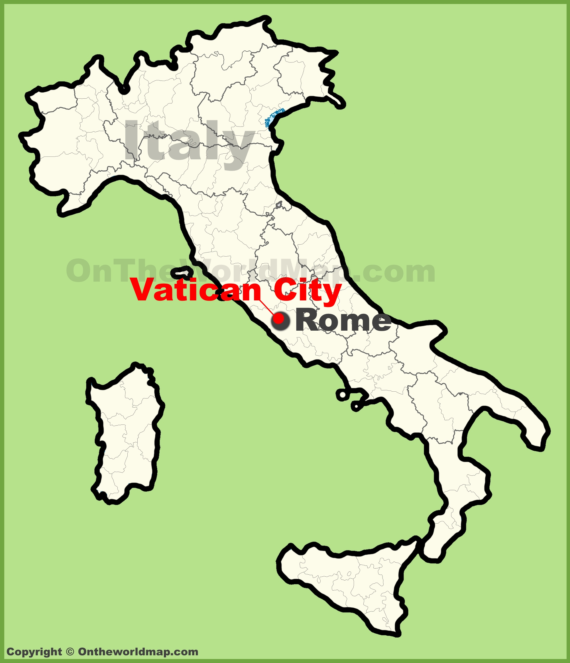 Map Of Vatican City Vatican City location on the map of Italy