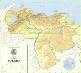 Large detailed map of Venezuela