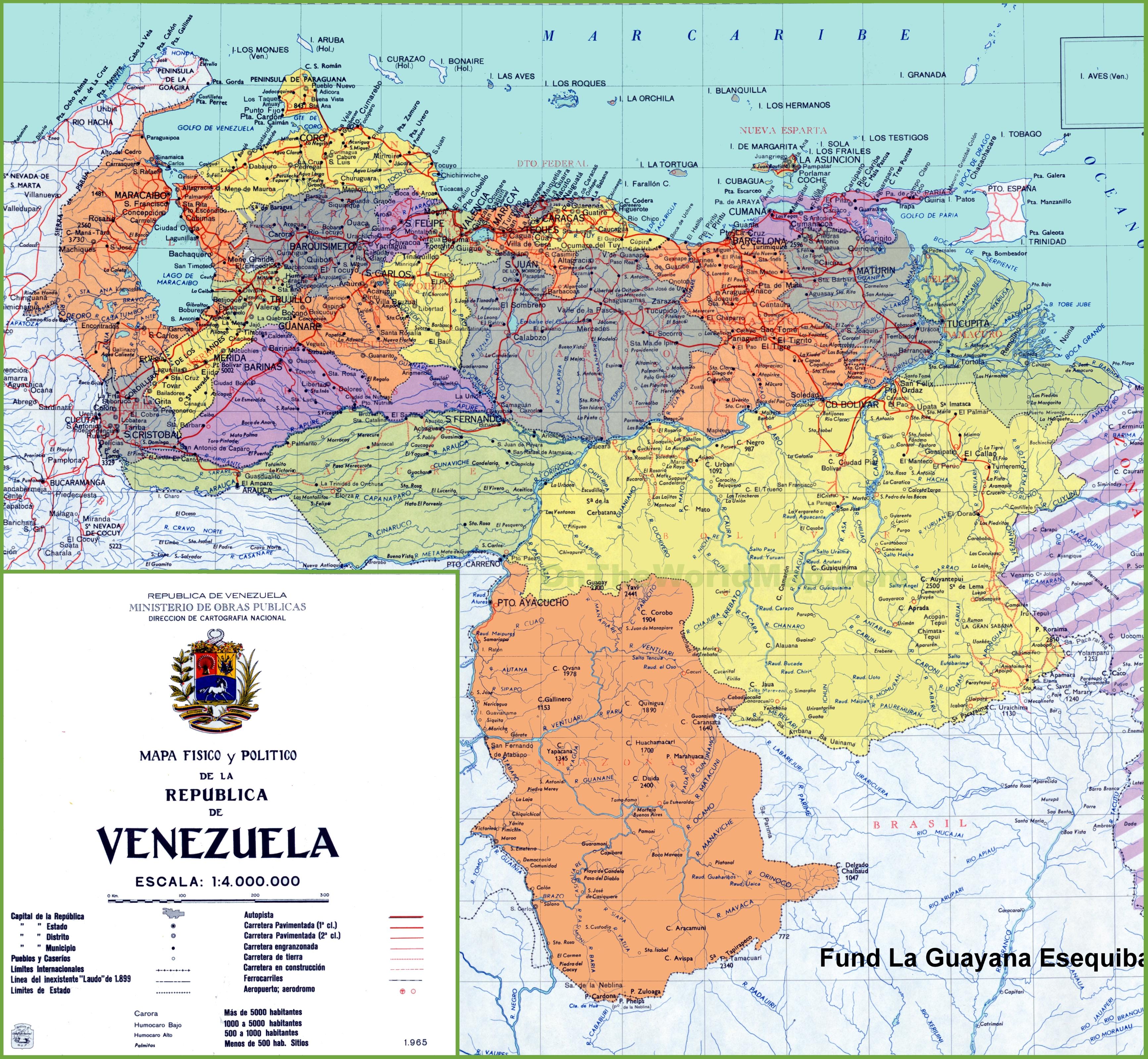 Map Of Venezuela Venezuela road map Map Of Venezuela