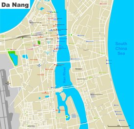Da Nang hotels and sightseeings map