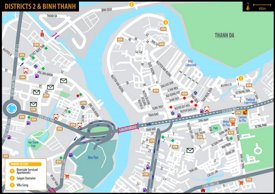 Ho Chi Minh City districts 2 and Binh Thanh map