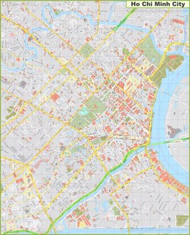 Large detailed map of Ho Chi Minh City