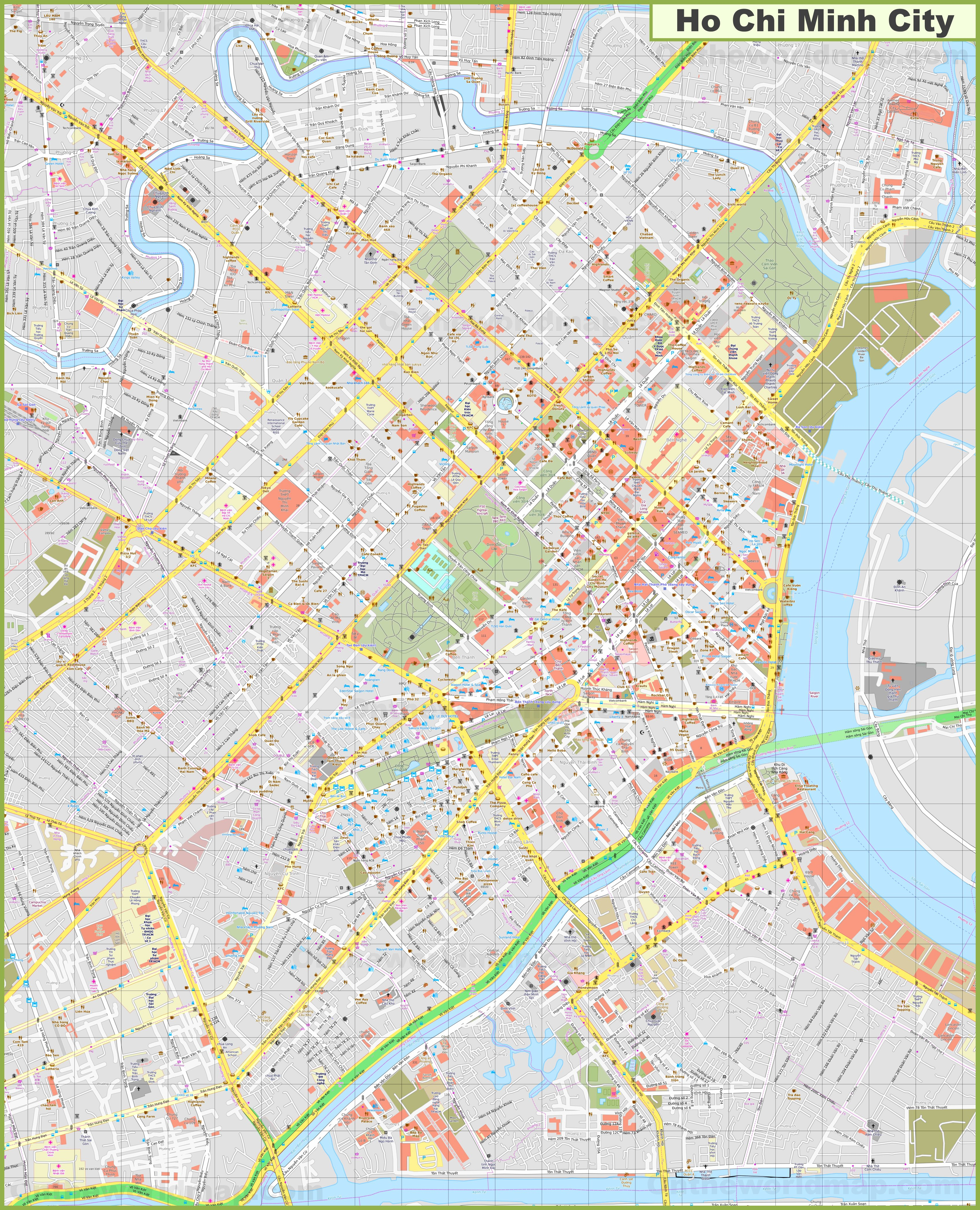 Ho Chi Minh Vietnam Map.Large Detailed Map Of Ho Chi Minh City