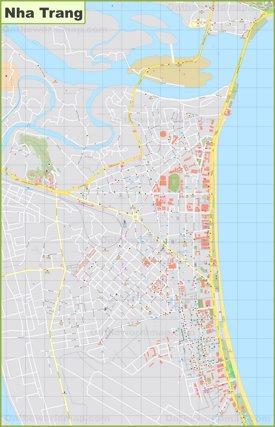 Large detailed map of Nha Trang