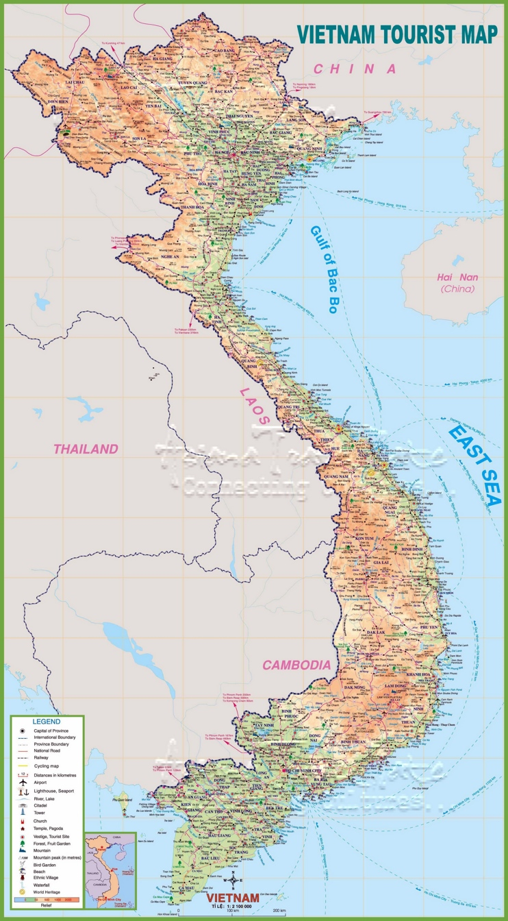 Large detailed tourist map of Vietnam with cities and towns