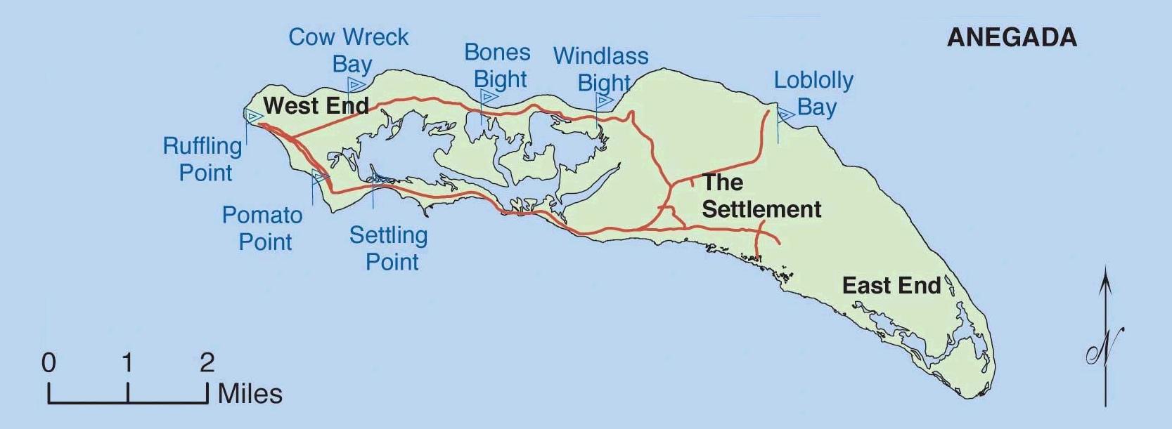 Map of Anegada island