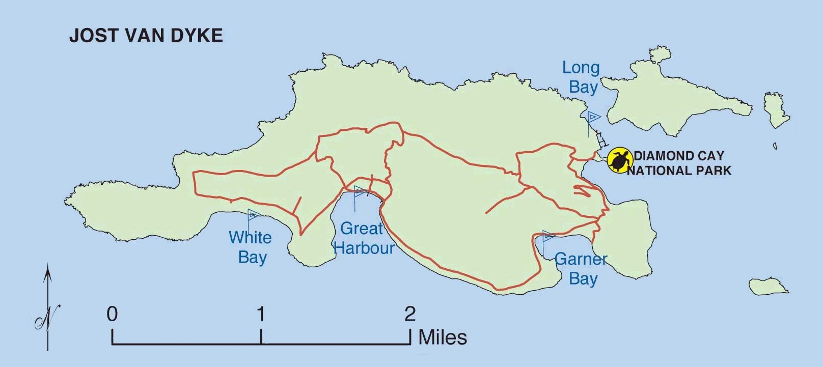 Map of Jost Van Dyke island