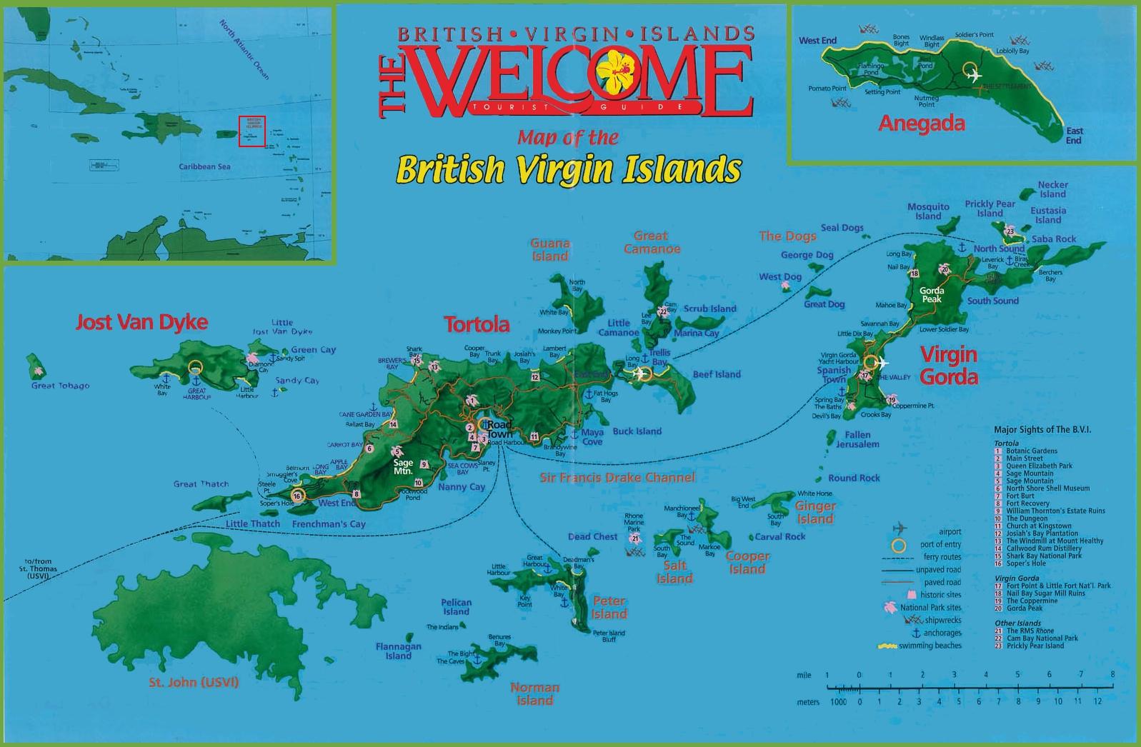 British Virgin Islands sightseeings map