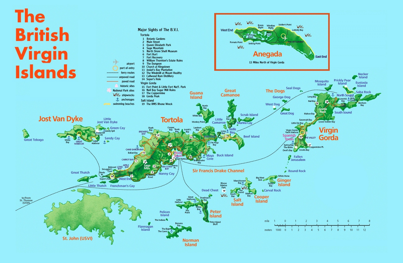 British Virgin Islands Tourist Map