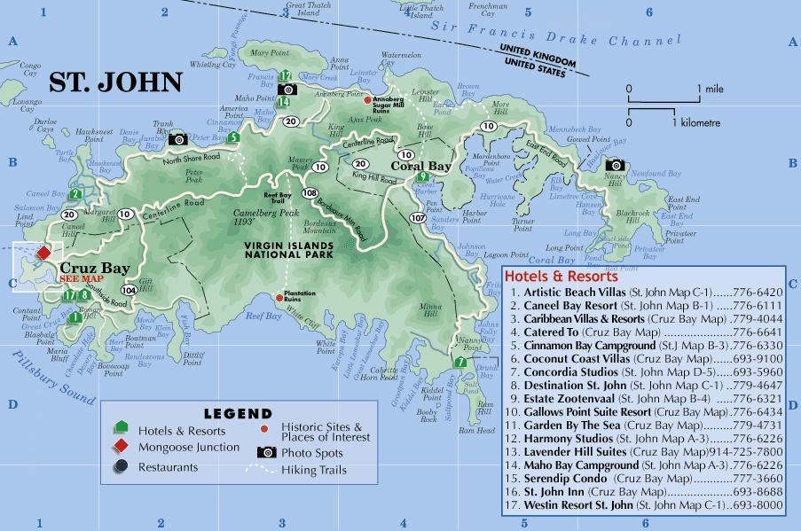 St John Island Hotel Map