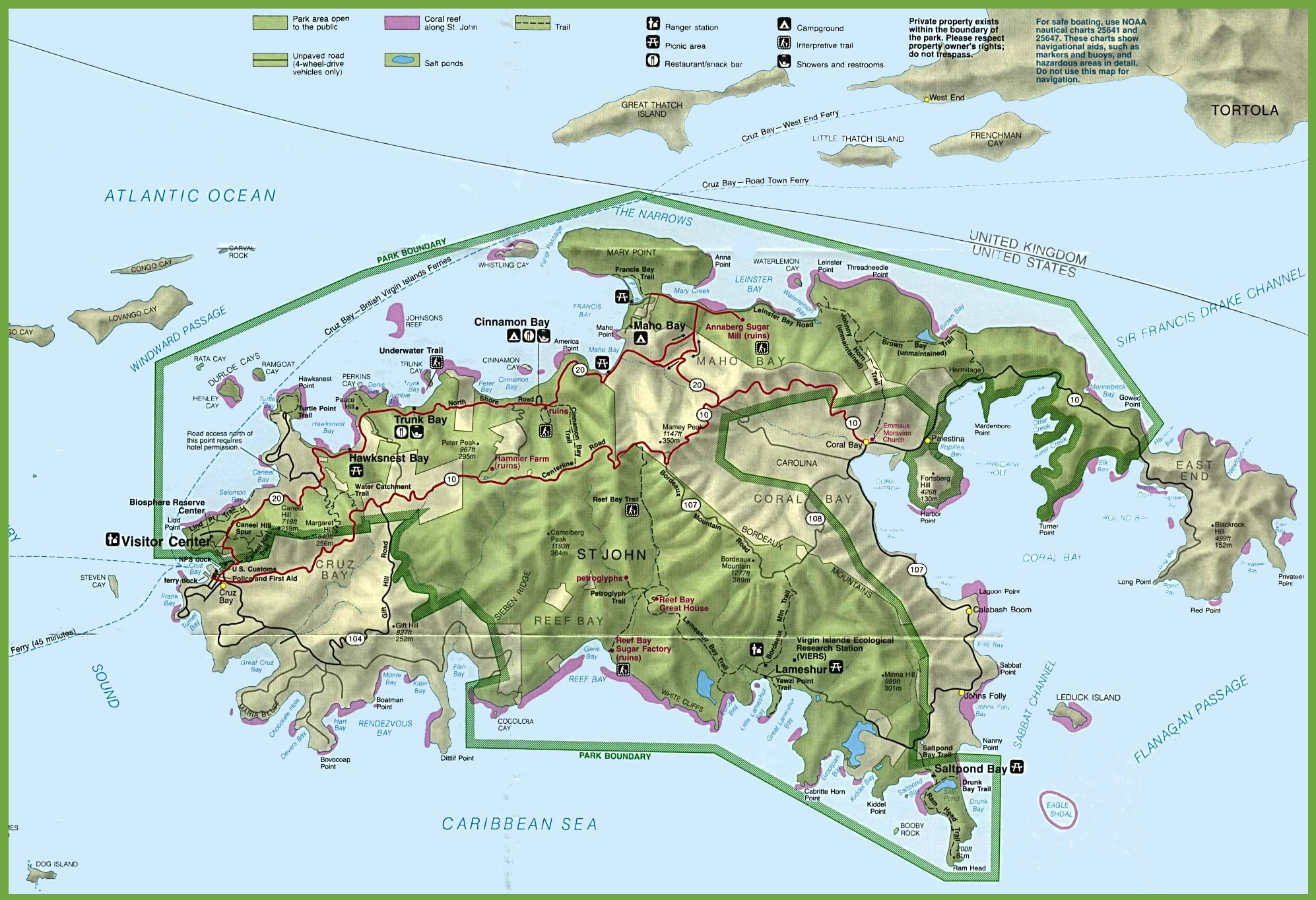 saint john island tourist map