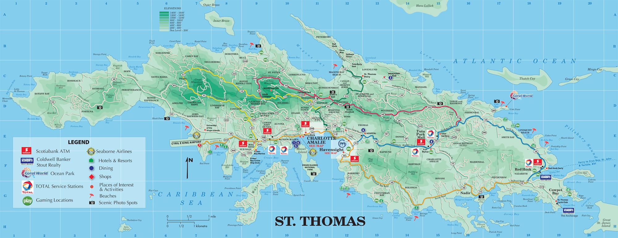 St Thomas Map St. Thomas island tourist map St Thomas Map