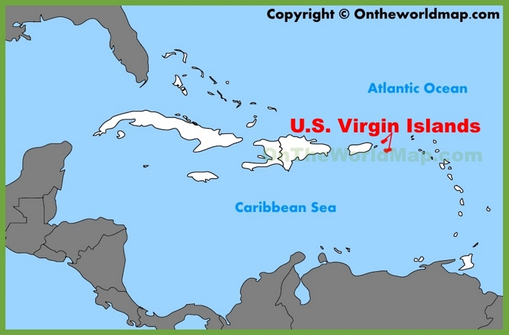 U S Virgin Islands Location On The Caribbean Map