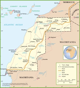Large detailed political map of Western Sahara