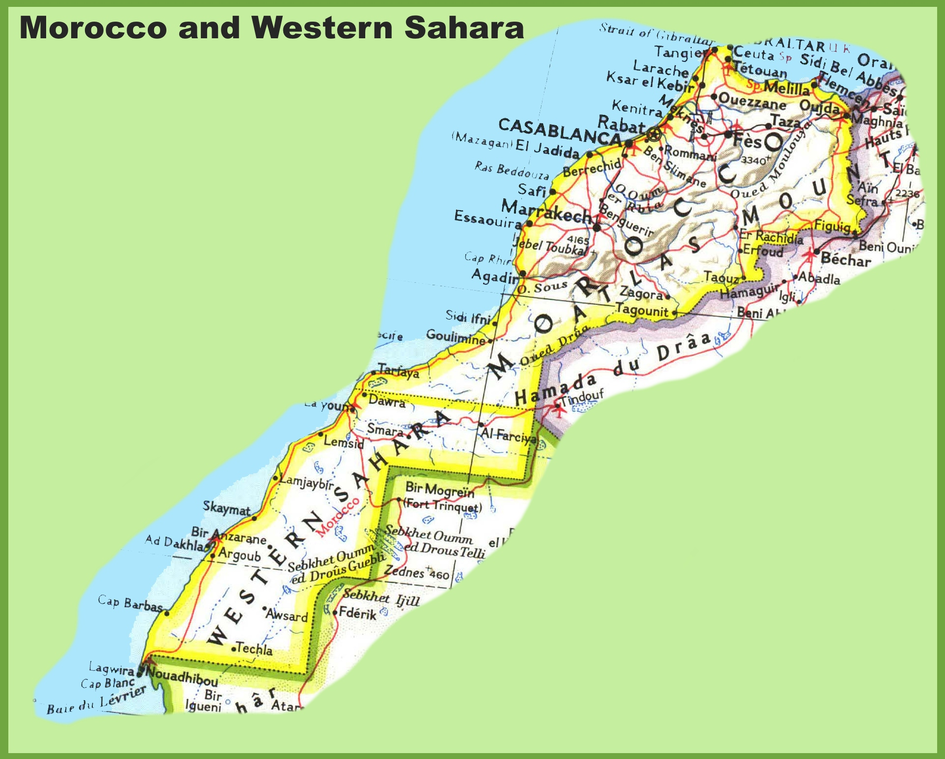 Map Of Morocco And Western Sahara - Western sahara map