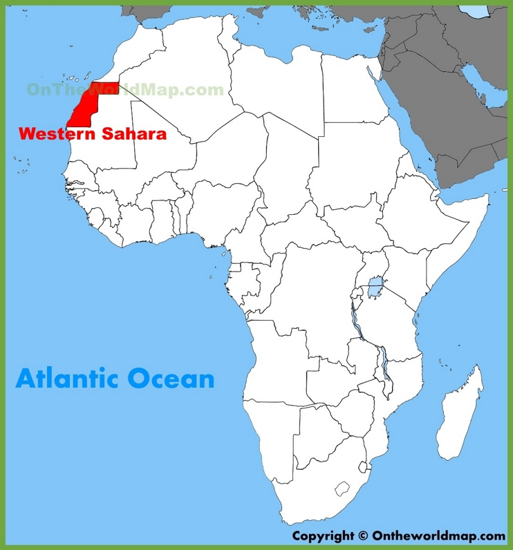 Western Sahara location on the Africa map
