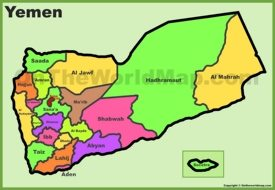 Administrative divisions map of Yemen