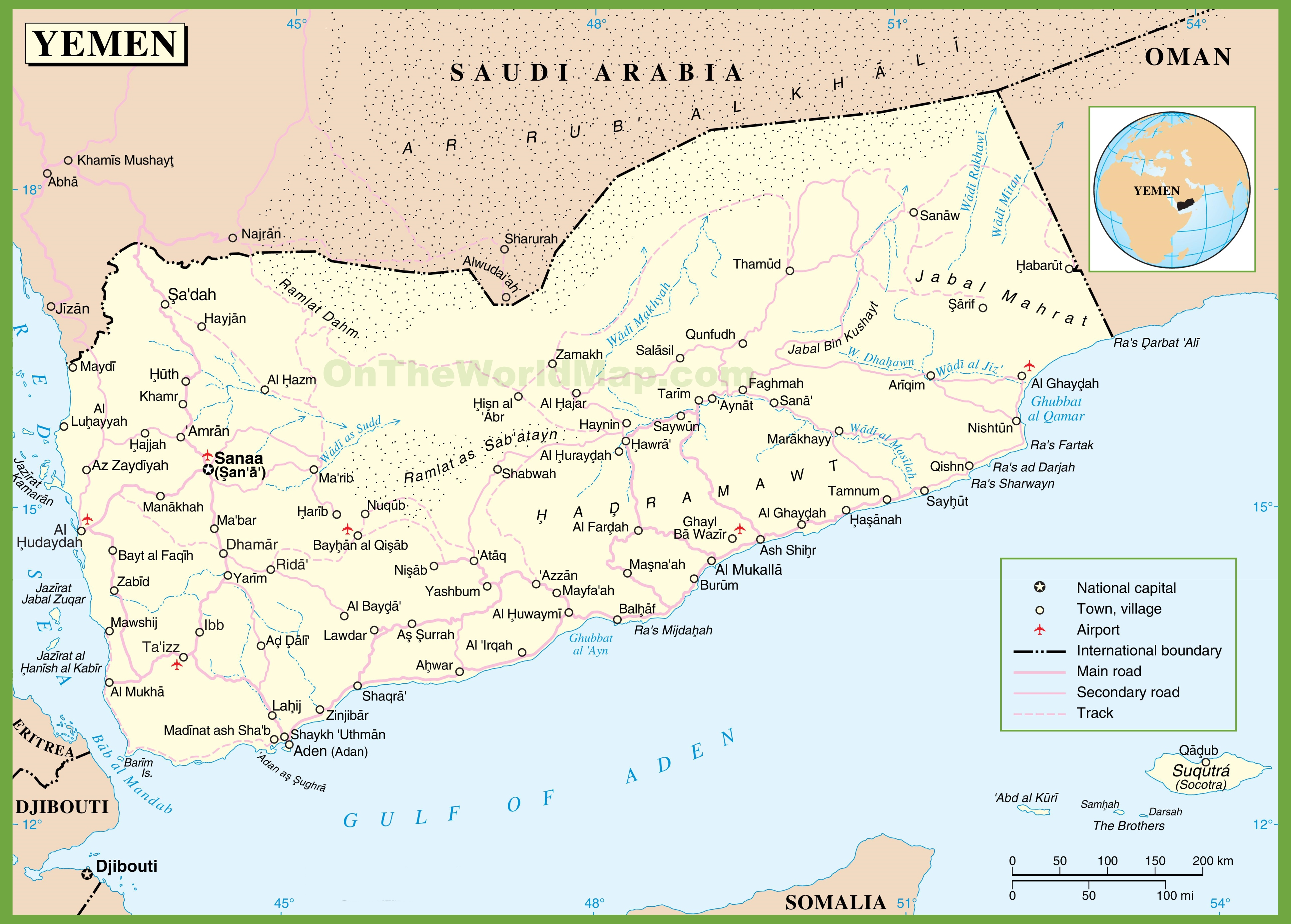 Large detailed map of Yemen with cities and towns