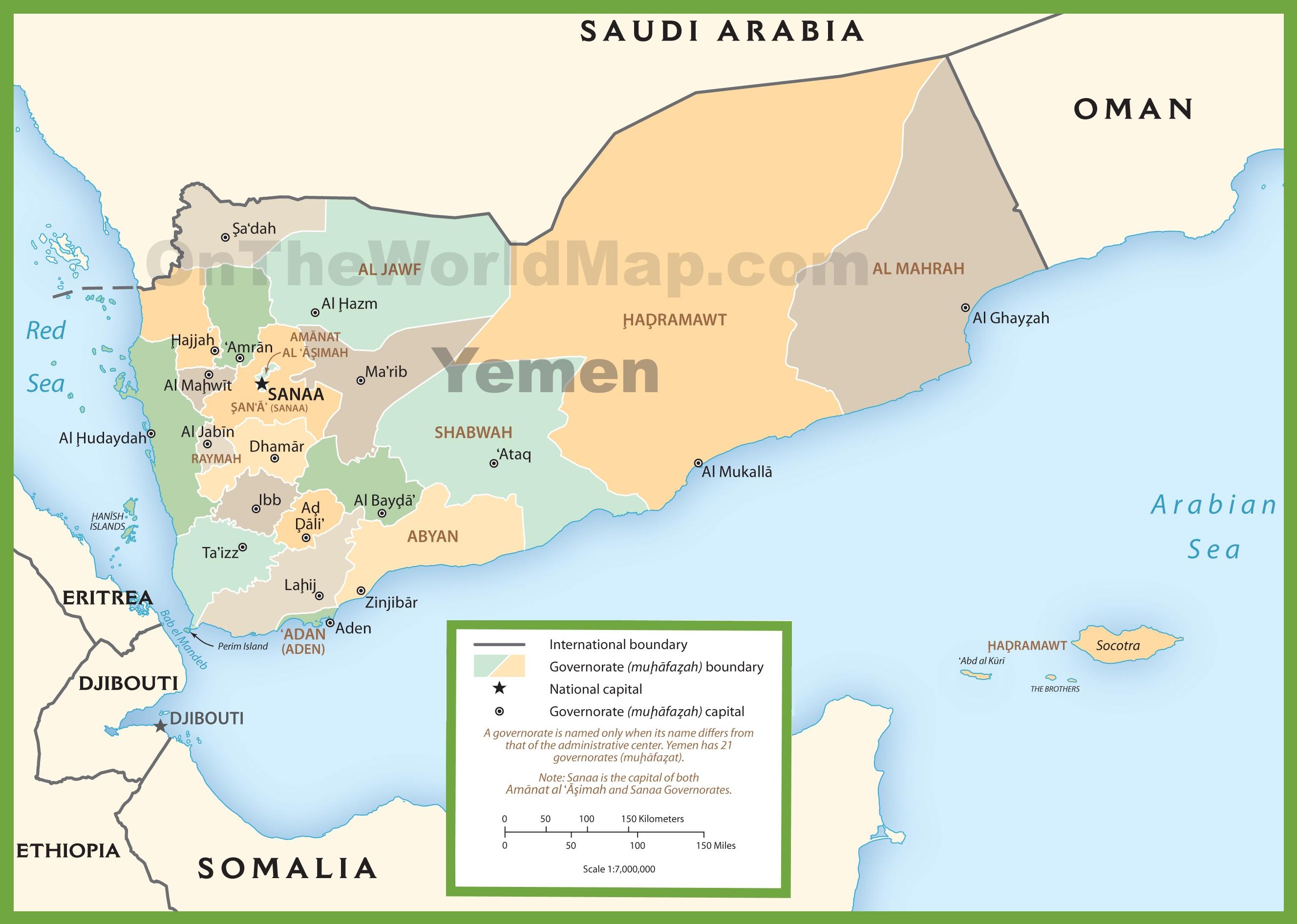 Yemen On Map Yemen political map Yemen On Map
