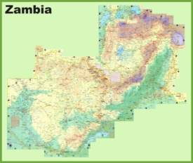 Large detailed map of Zambia with cities and towns