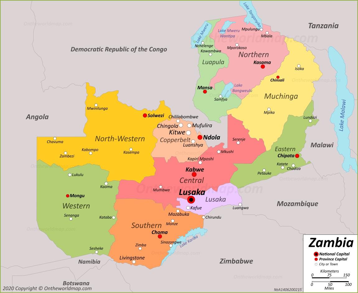 Picture of: Zambia Map Maps Of Zambia