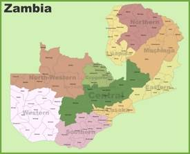 Zambia districts map