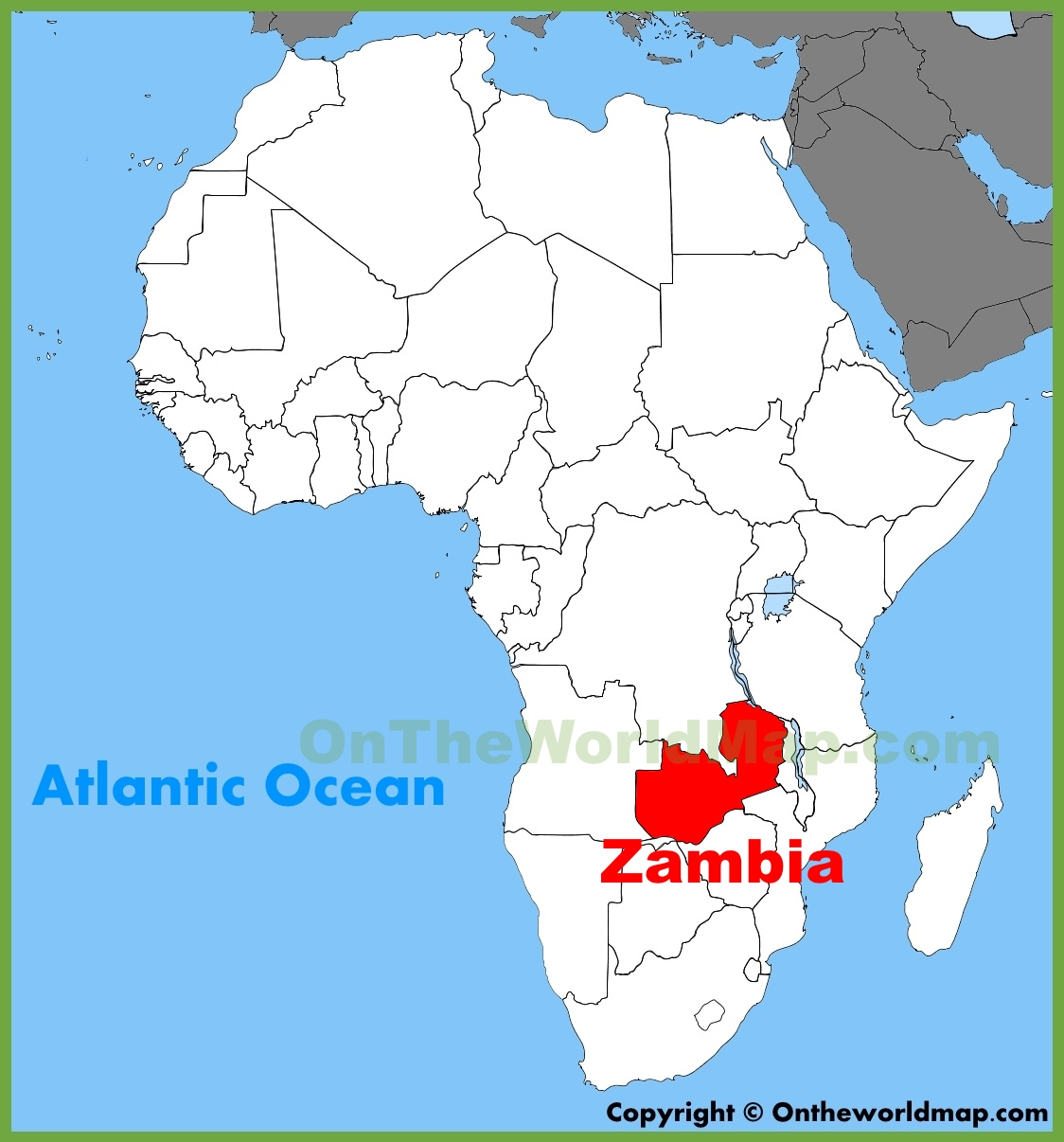 africa map with zambia