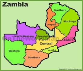Zambia provinces map