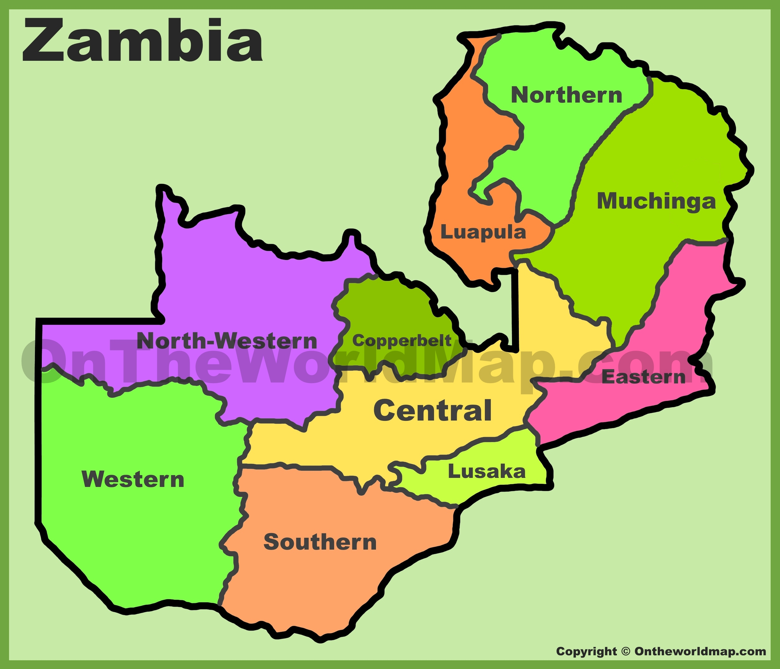 Map Of Zambia Zambia provinces map