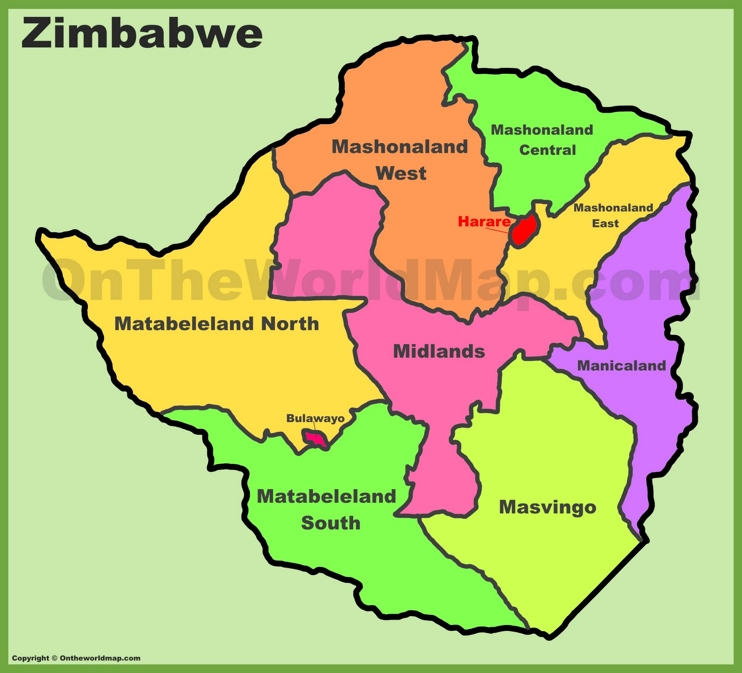 Administrative divisions map of Zimbabwe