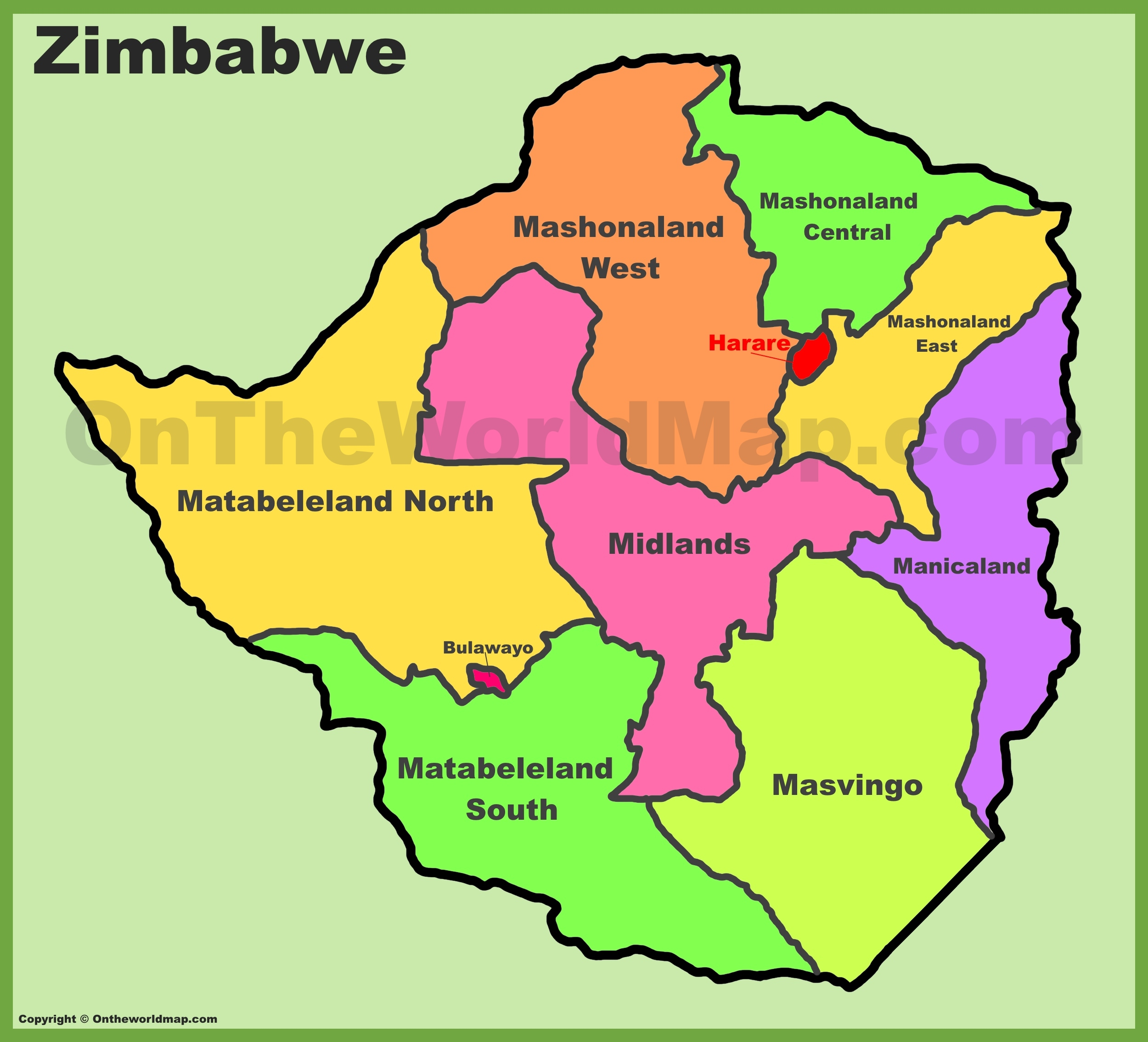 Map Of Zimbabwe Administrative divisions map of Zimbabwe Map Of Zimbabwe