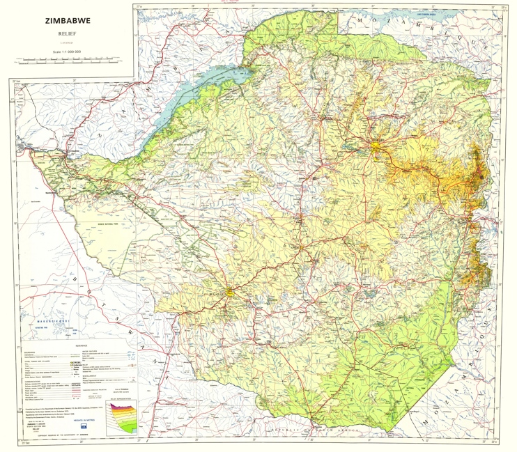 Topographic map of Zimbabwe