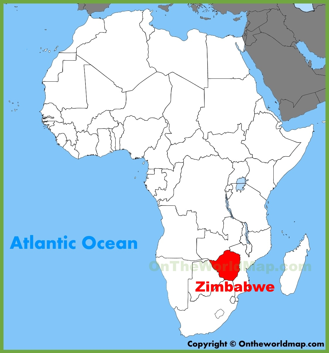 Map Of Africa Showing Zimbabwe.Zimbabwe Location On The Africa Map