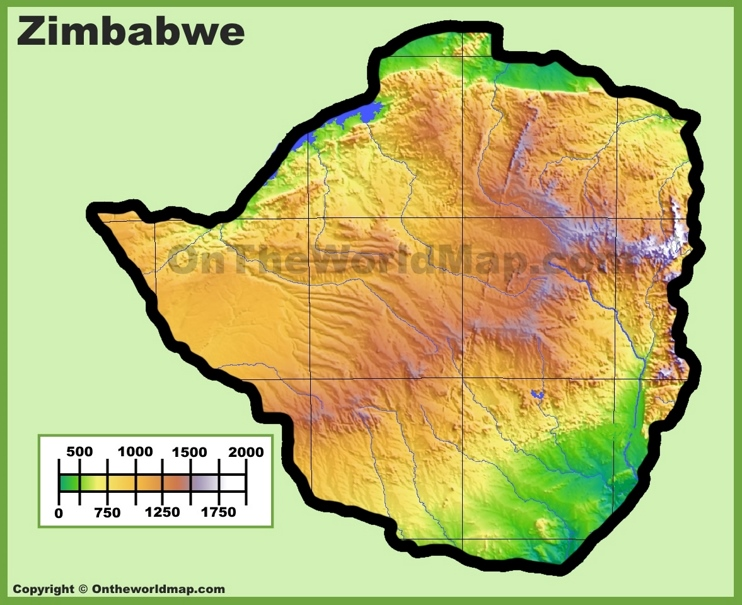 Zimbabwe physical map